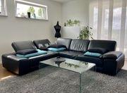 Echtleder- Sofa schwarz W Schillig