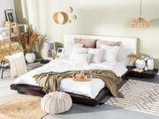 Bett dunkler Holzfarbton Lattenrost 180