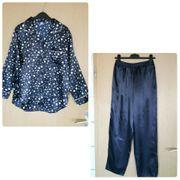 Schlafanzug Pyjama Satin dunkelblau Gr