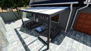 Alu-Terrassendach aus gehärtetem Verbundglas ESG