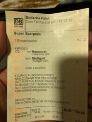 Bahnticket Hannover Stuttgart 11 12