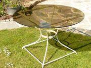Gartentisch Eisen Metall mit Glasplatte