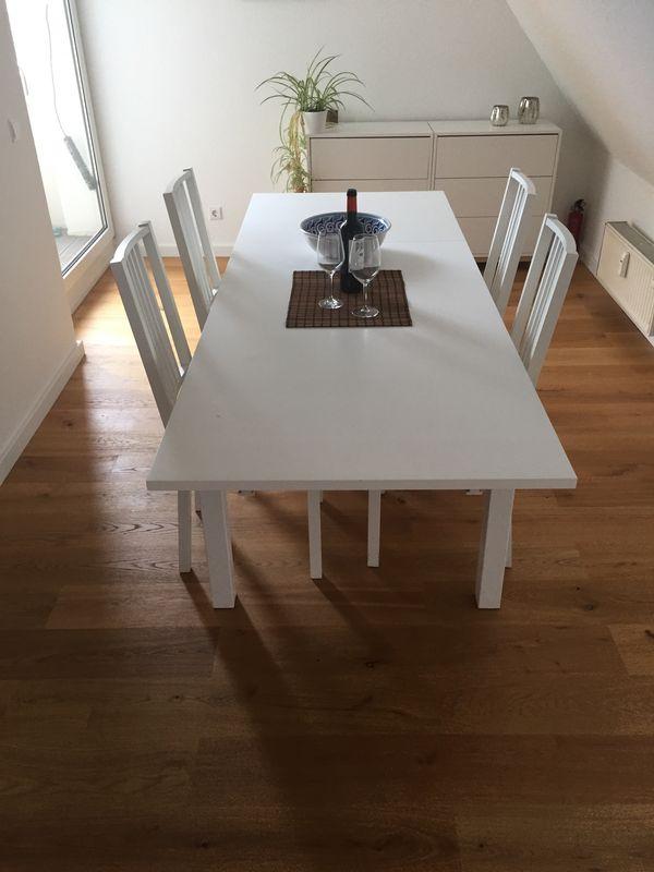 Ikea Esstisch Bjursta Ausziehbar Weiss Mit 4 Stuhlen