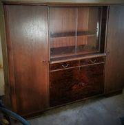 Antik alter Wohnzimmerschrank Bücherschrank Glas