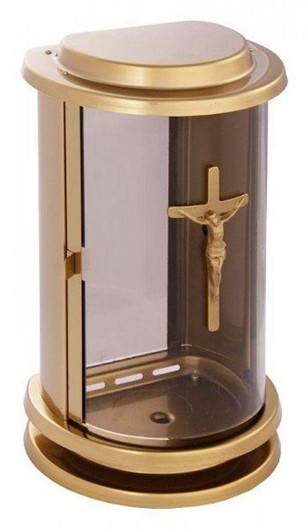 Grablaterne bronzefarben mit Kreuz Grablampe