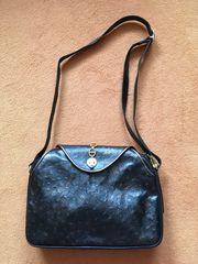 schw Lederhandtasche