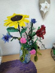 Blumen- Strauß - Deko - Geschenk- Perlen-
