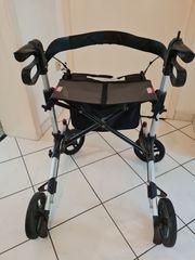 Leichtgewicht-Rollator mit Rückenlehne und Tasche