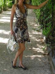 Kleid Damen mit Leoprint