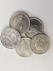 5 Stück 2 Franken Silber