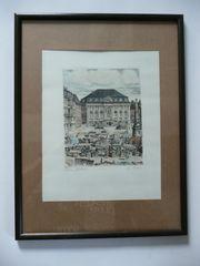 Radierung Original- Bonn Markt W