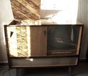 Hornyphon Fernsehtruhe Vintage Tv Plattenspieler