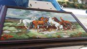 Großes Gobelin Bild Stickbild Pferde