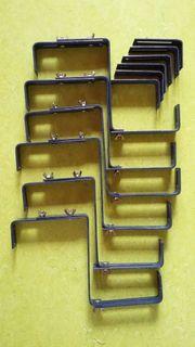 6 Blumenkastenhalterungen - in blau - 2-fach-verstellbar