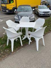 Balkonmöbel Schalensessel Tisch weiß Gartenmöbel