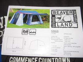 Campingartikel - NEU-OVP-STEILWANDZELT-CAMPING-ZELT-HAUSZELT-4-6PERS-BEVERLAND-NP 499 -FP 299 -