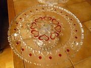 2 Tortenplatten aus Krisallglas mit