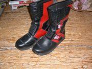 Halbhohe Damen-Stiefel Polo-Road schwarz-rot Gr