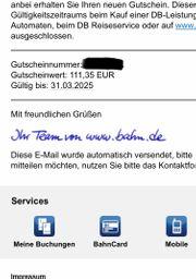 Deutsche Bahn Gutschein 111EUR Gutschrift