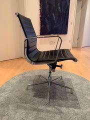 Bürostühle 2 Stück Leder schwarz