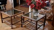 2 wunderschöne Ratan Beistell-Tische mit