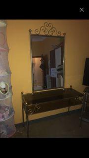 Vintage shabby Glasstisch Spiegel