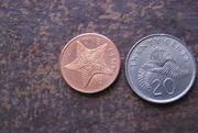 Münzen Twenty Cents Singapur 1989