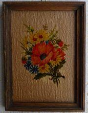 Hinterglasbild mit einem schönen Blumenstrauß