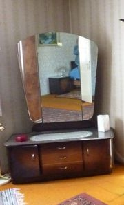 alte Spiegelkommode Frisierkommode dunkles Holz