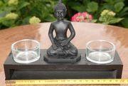 Buddha mit 2 Teelichtern