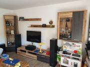 Wohnwand TV-Wand modern Holznachbildung Low