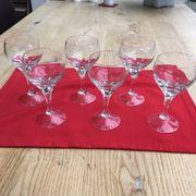 6 Kristall-Weingläser