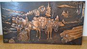 Kupferbild Reliefbild Pferdefuhrwerk