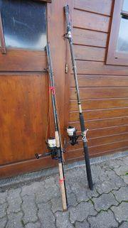 Zwei Welsruten zwei Shimano Baitrunner