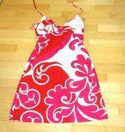 schönes Sommerkleid Neckholderkleid weißrotrosa gemustert