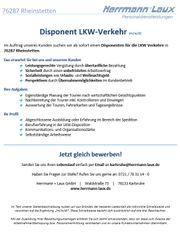 Disponent LKW-Verkehr m w d
