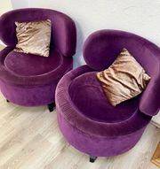 Sessel rund design Polster lila