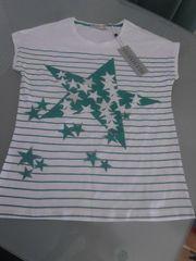 NEU Damen T-Shirt weiß türkis