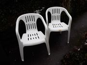 Gartenstühle 2 St stapelbar weiß