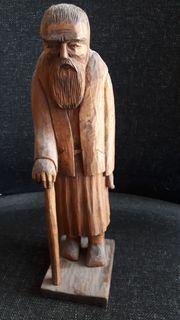 Holzstatue handgeschnitzt alter Mann mit