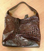 Handtasche Beutelform dunkelbraun Krokooptik
