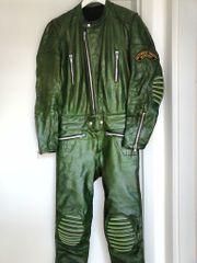 Grüne vintage Lederkombi für Größe