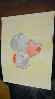 Bild Kinderzimmer Deko Bärchen Herz