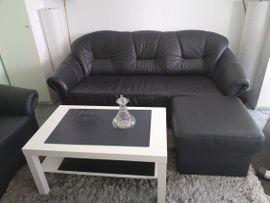 Polster, Sessel, Couch - Echt Leder Sofagarnitur 3 1