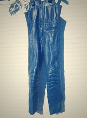 blaue Motorrad Leder-Latz-Hosen von IXS