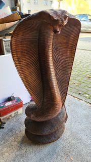 Kobra-Schlange Statue aus Mahagoni-Baumstamm Handarbeit
