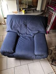 Sessel - Stoffbezug Velour in blau