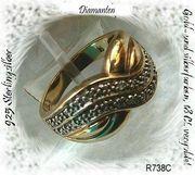 Edelsteinring Weistopas 925 Silber vergoldet