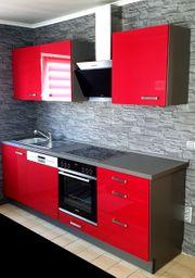 Küche Einbauküche - rosenrot grau - hochglanz -