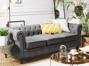 3-Sitzer Sofa Polsterbezug grau CHESTERFIELD neu